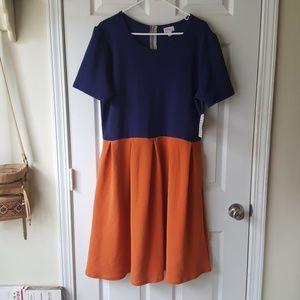 Lula Roe blue orange flair dress with pockets